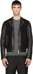 Dsquared Black Wool And Leather Bomber Jacket