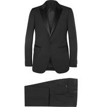 Lanvin Black Attitude Slim Fit Wool And Mohair Blend Tuxedo Black