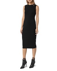 Allsaints Rossa Stud Side Ribbed Tank Dress Black