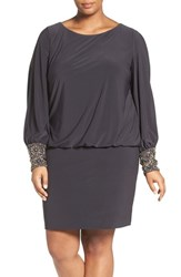 Xscape Evenings Plus Size Women's Embellished Cuff Blouson Jersey Dress Charcoal