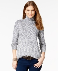 American Living Marled Turtleneck Sweater Only At Macy's Indigo Multi