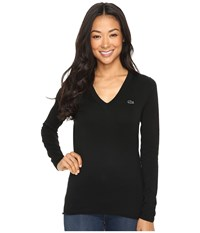 Lacoste Long Sleeve Cotton Jersey Ottoman V Neck Sweater Black Women's Sweater