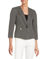 Nipon Boutique Checkered Fitted Blazer Black White