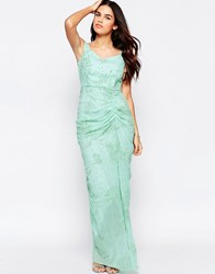 Vlabel London Vlabel India Off Shoulder Maxi Dress With Ruched Front Mint Green