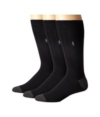Polo Ralph Lauren 3 Pack Rib Crew With Contrast Heel Toe And Player Embroidery Black Men's Crew Cut Socks Shoes