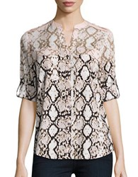 Calvin Klein Patterned Roll Tab Blouse Blush