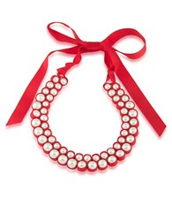 1St And Gorgeous Pearl Grosgrain Ribbon Bib Necklace White Pearl And Light Red