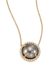 Jordan Alexander 10Mm Grey Tahitian Freshwater Pearl Diamond And 18K Yellow Gold Pendant Necklace