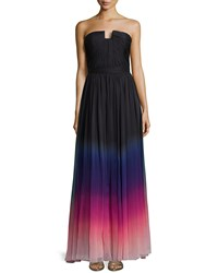 Halston Strapless Ombre Gown With Ruching Orchid Mlt Ombre