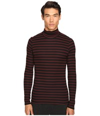 Atm Anthony Thomas Melillo Striped Long Sleeve Rib Turtleneck Sweater Rust Black Stripe