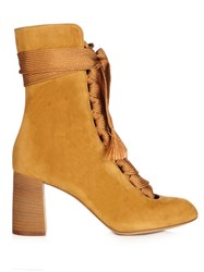 Chloe Harper Lace Up Suede Ankle Boots Dark Yellow