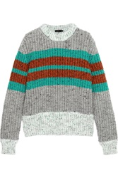 Jonathan Saunders Striped Ribbed Wool Blend Sweater Gray