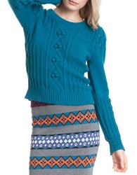 Plenty By Tracy Reese Cable Knit Sweater Deep Turquoise