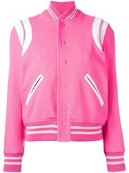 Saint Laurent Classic Teddy Varsity Jacket Pink Purple