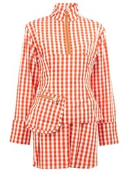 Marques Almeida Marques'almeida Deconstructed Gingham Top Red