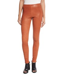 Elizabeth And James Xavier Zip Trim Leather Leggings Cinnamon
