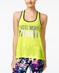 Material Girl Active Juniors' Graphic Racerback Tank Top Only At Macy's Strong Yelllow