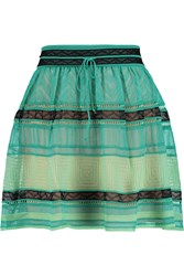 M Missoni Crochet Knit Cotton Blend Mini Skirt Blue