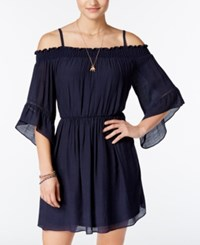 Amy Byer Bcx Juniors' Off The Shoulder Dress Navy