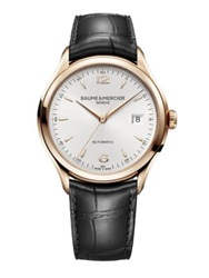 Baume And Mercier Clifton 18K Red Gold And Alligator Automatic Strap Watch Red Gold Black