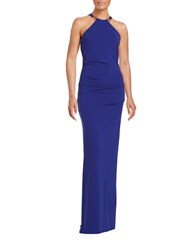 Nicole Miller Ruched Halter Gown Royal Blue