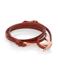 Miansai Anchor Leather Bracelet Rose Goldtone Brown