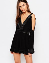 Finders Keepers Unravel Cold Shoulder Playsuit Black