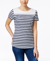Charter Club Lace Trim Striped Tee Only At Macy's Intrepid Blue White
