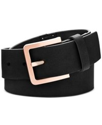 Calvin Klein Hand Stitch Lace Up Leather Belt Black Brushed Copper