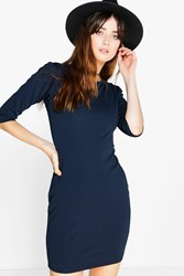 Boohoo 3 4 Sleeve Bodycon Dress Navy