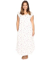 Carole Hochman Plus Size Flutter Sleeve Long Gown Holiday Bouquet Twin Women's Pajama White