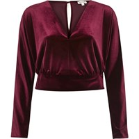 River Island Womens Dark Red Velvet Wrap Crop Top