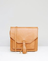 Asos Leather Cross Body Bag With Tassel Tan