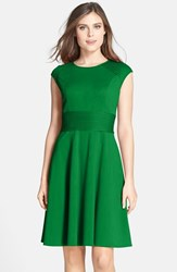 Women's Eliza J Pintucked Waist Seamed Ponte Knit Fit And Flare Dress Green