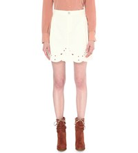 See By Chloe Embroidered High Rise Stretch Denim Skirt Natural White