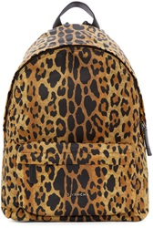 Givenchy Black And Tan Nylon Leopard Print Backpack