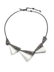 Alexis Bittar Crystal Encrusted Graduated Origami Bib Necklace Silver