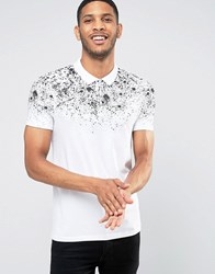 Asos Muscle Polo Shirt In White With Speckle Yoke Print White