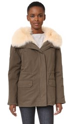 Army By Yves Salomon Short Classic Parka With Fur Treillis Petal Pink
