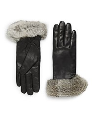 Saks Fifth Avenue Leather And Rabbit Fur Gloves Black
