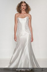 Women's Matthew Christopher 'Julia' Strapless Lace Applique Shantung Trumpet Gown In Stores Only
