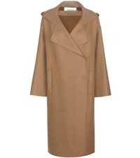 Valentino Virgin Wool And Angora Coat Brown