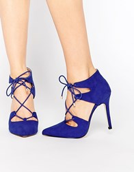 Carvela Kayleigh Ghillie Lace Point Heeled Shoes Blue Suedette