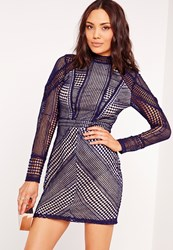 Missguided Structured High Neck Premium Lace Mini Dress Navy Blue