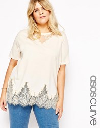 Asos Curve Lace Mix Longline T Shirt Nude Pink