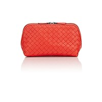 Bottega Veneta Women's Intrecciato Medium Cosmetic Case Red