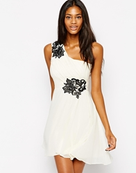 Lipsy One Shoulder Prom Dress With Flower Applique Whiteblack