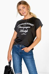 Boohoo Slogan Printed T Shirt Black