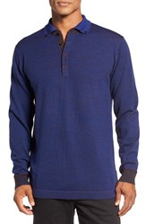 Robert Graham Men's Este Polo Sweater Heather Navy