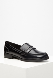 Forever 21 Studded Faux Leather Penny Loafers Black